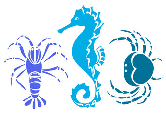 Set of crab, sea horse, cancer. Sketch vector