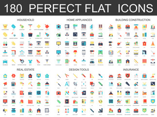 180 modern flat icons set of household, home appliances, building construction, real estate, design tools, insurance icons.