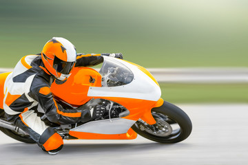 Wall Murals Motor sports Motorcycle practice leaning into a fast corner on track
