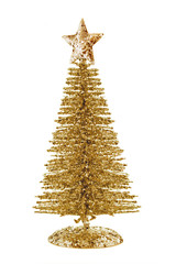 Three quater view of gold shiny Christmas tree with star isolated on white