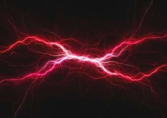 Purple and red lightning, abstract plasma background