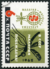 USSR - 1962: shows Malaria Eradication Emblem and Mosquito