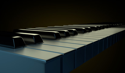 Glossy piano keyboard on the black background.