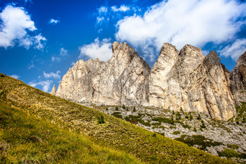 Curious vertical dolomitic pinnacles and crest of Mount Settsass, Valparola Pass, Dolomites, Italy