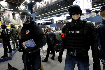 Individual protection equipment and body armour is displayed by French firm PROTECOP at the 20th Paris Milipol, the worldwide exhibition dedicated to homeland security, in Villepinte