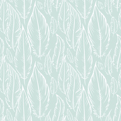 Background with blue feathers / Vector seamless pattern in the style of Boho