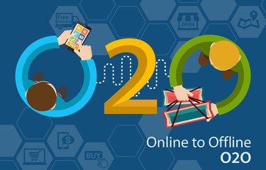 Online to Offline O2O Shopping Retail Experience Concept Infographic