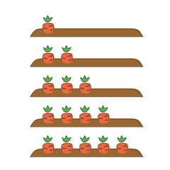 Garden bed with carrots, vector illustration, doodle style. We count carrots one, two, three, four, five. We count carrots