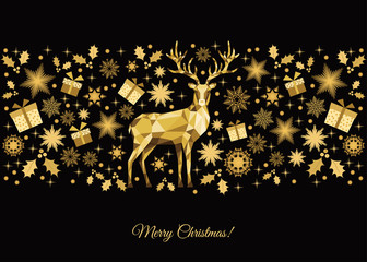 Christmas background with gold reideer.