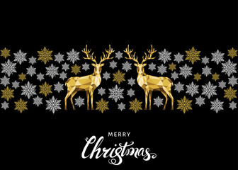 Christmas golden  decoration with reindeer.