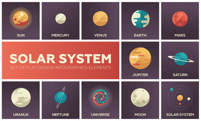 Solar system - set of flat design infographics elements