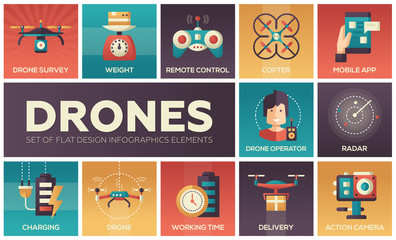 Drones - set of flat design infographics elements