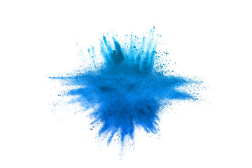 Freeze motion of blue powder explosions isolated on white background Wall mural