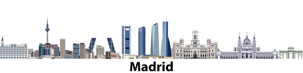 vector illustration of Madrid city panoramic skyline
