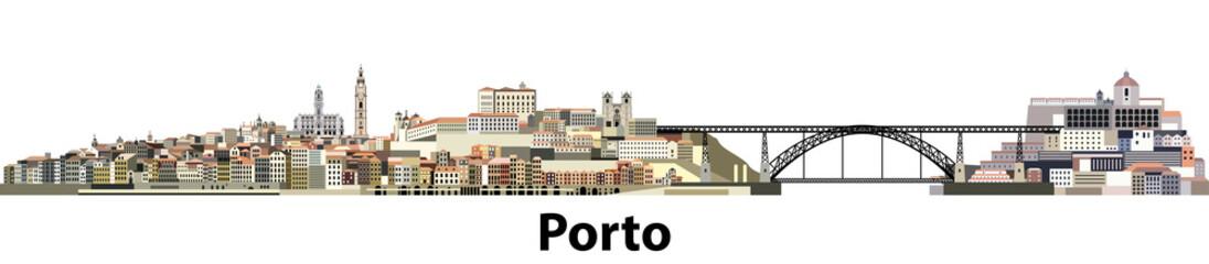vector illustration of Porto city panoramic skyline