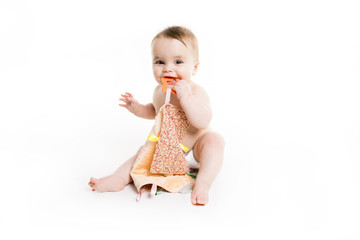 baby Age of 10 months. It is isolated on a white background