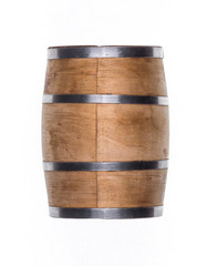 wooden barrel for wine on a white background