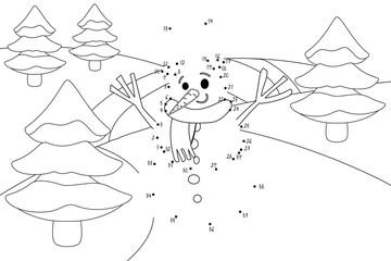 Punkte verbinden - Schneemann im Wald