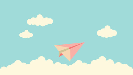 Vector graphic of paper plane fly above clouds. Concept of freedom.