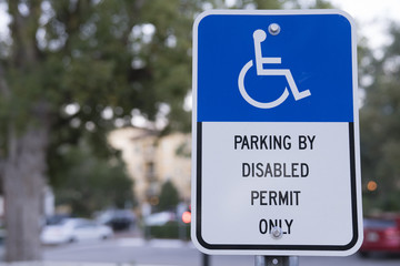 Parking By Disabled Permit Only Sign Outside