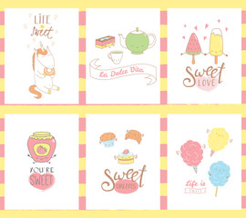 Collection of hand drawn templates for greeting cards, with sweet food doodles, with kawaii faces and typograhpy, Italian text La dolce vita (Sweet life). Vector illustration. Design concept kids.