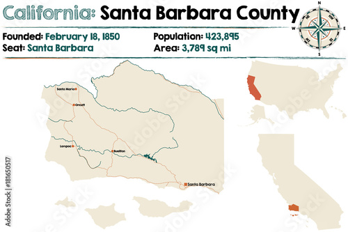 Large and detailed map of Santa Barbara county in California Stock