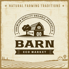Vintage Barn Label. Editable EPS10 vector illustration in retro woodcut style with clipping mask and transparency.
