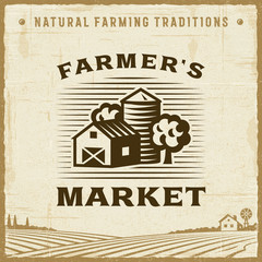 Vintage Farmer's Market Label. Editable EPS10 vector illustration in retro woodcut style with clipping mask and transparency.
