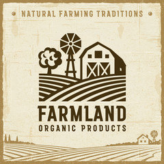Vintage Farmland Label. Editable EPS10 vector illustration in retro woodcut style with clipping mask and transparency.