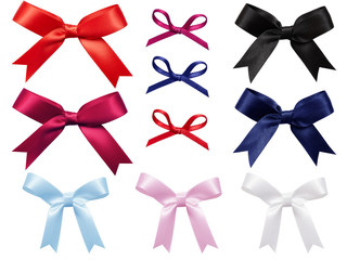 Sett of multi color bows tied using satin ribbon, red, blue, pink, black, white, purple