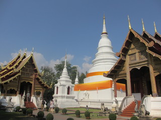 Beautiful white temple in Chiang Mai in Thailand