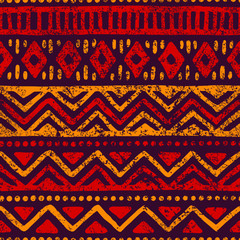 Seamless geometric pattern. Ethnic and tribal motifs. Grunge texture. Print for your textiles.
