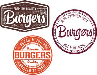 Vintage Burgers Restaurant Stamp Designs