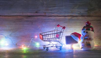 Christmas decoration on lights bokeh background