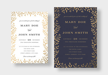 Elegant Gold Floral Wedding Invitation Layout