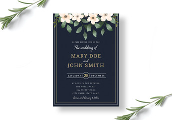 Botanical Wedding Invitation Layout