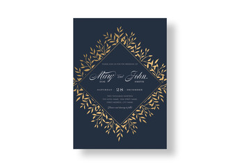 Elegant Navy Gold Floral Wedding Invitation Layout