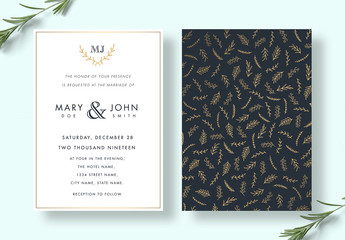 Elegant Floral Wedding Invitation Layout