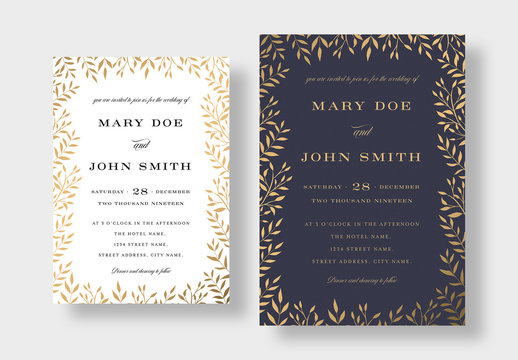 Elegant Gold Floral Wedding Invitation Layout