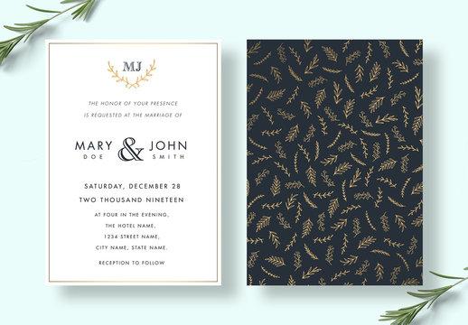 Elegant Floral Wedding Invitation Layout