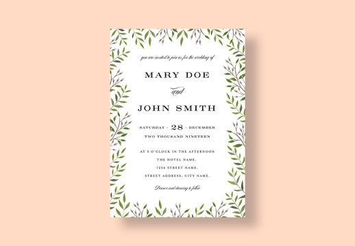 Botanical Wedding Invitation Layout