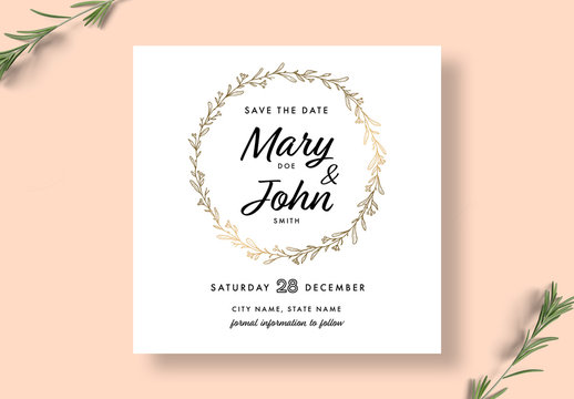 Floral Save The Date Invitation Layout
