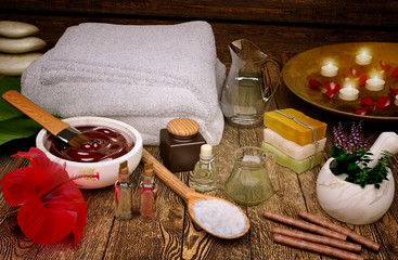 Spa still life with candles and spa products.