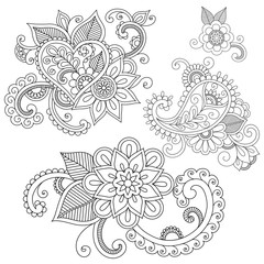 Set of floral doodle ornaments.