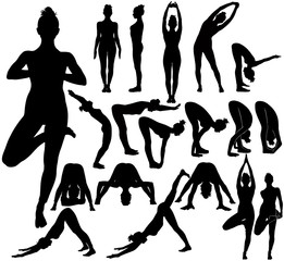 Silhouettes of girl practicing yoga stretching exercises.