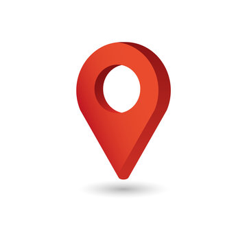 Map Pointer symbol. Flat Isometric Icon or Logo. 3D Style Pictogram for Web Design, UI, Mobile App, Infographic.