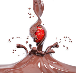 Strawberry in splashing chocolate 3d rendering