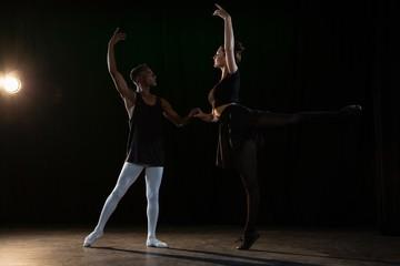 Ballet partners practicing ballet dance