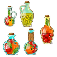 Collection of marinades in bottles and jugs. Homemade canned food in glass transparent container. Preservation of harvest for winter. Vector Illustration in cartoon style isolated on white background