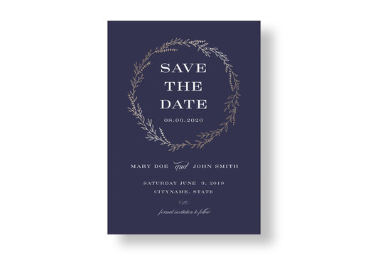 Navy and Gold Floral Wedding Invitation Layout